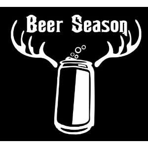 Beer Season Die Cut Decal Vinyl Sticker   6 White