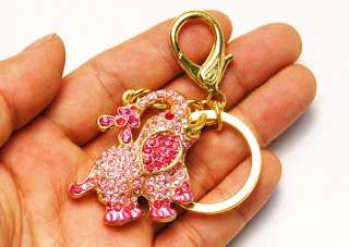 Baby Rose Hot Pink Crystal Rhinestone Playful Circus Elephant Clip