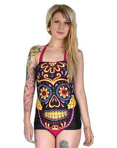SUGAR SKULL SWIMSUIT DRESS pinup rockabilly goth punk top 50S retro