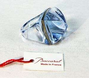 BACCARAT 18K W GOLD MEDICIS AQUAMARINE RING 5 5.5 NEW