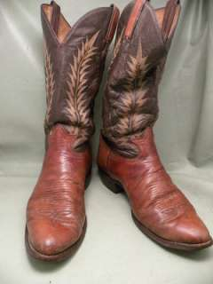 Tony Lama Brown Leather 10 D Mens Western Boots