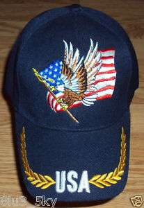 PATRIOTIC AMERICAN BALD EAGLE USA FLAG BASEBALL CAP HAT