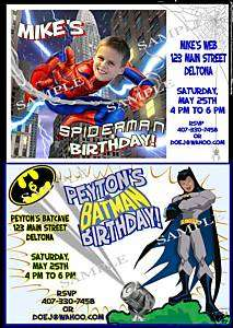 SPIDERMAN or BATMAN Personalized Birthday Invitations
