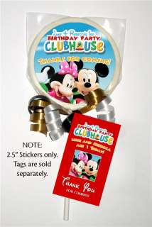 12 MICKEY MINNIE MOUSE Birthday LOLLIPOP STICKERS