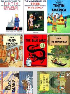 IMAGES OF THE FIRST 8 TINTIN COMIC BOOK COVERS ON MAGNETS