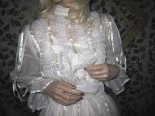 70s Vtg Romantic Gunne Sax Ivory Wedding Dress, Ribbon Fantasy Long