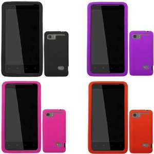 Red + Solid Hot Pink + Solid Purple Silicone Skin Case Faceplate Cover