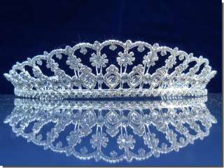 Wedding Crown Veil Pageant Homecoming Prom Pearl Crystal Tiara 46416