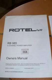 Rotel RB 985 Amplifier THX Certified at 100 Watts/ 5 Channels In Mint