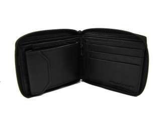 Mens Leather Wallet Black Zip Around Coin Pocket Black