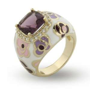 Purple and Pink Enamel CZ Vermeil Flower Ring Size 9 (Sizes 5 7 8 9 10