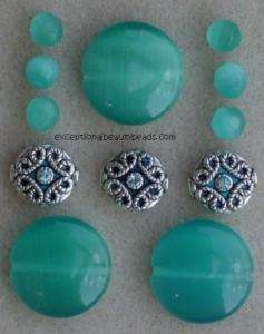 Green Teal Cats Eye Bead Jewelry Kit Swarovski Crystal Rhinestone