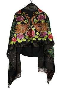 Black Brown Hand Beaded 100% Silk Velvet Shawl Scarf Wrap With Peacock