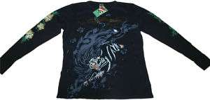 Mens Ed Hardy Black Panther Thermal T Shirt Long Sleeve