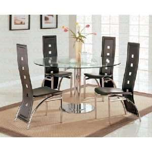 Room Set in Black Bonded Leather Upholstery Coaster Dining Room Sets