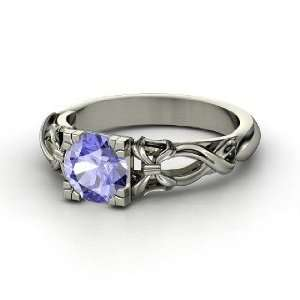 Ribbon Ring, Round Tanzanite 14K White Gold Ring Jewelry