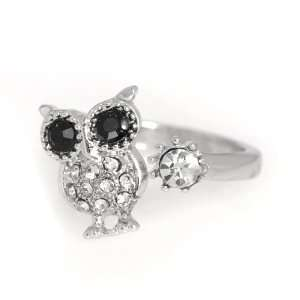 Silver Plated Black Eyes Owl Adjustable Ring with Free