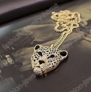 Fashion Golden Silver Tone Chain Rhinestone crystal leopard Pendant