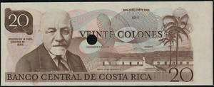 Costa Rica 20 Colones 1983 proof print, P.252