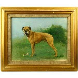 English School Boxer Dog Portrait Oil Painting