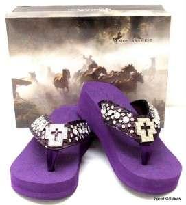 Purple Western Rhinestone Cross Bling Flip Flop Sandals