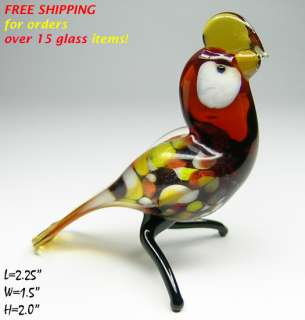 PARROT BIRDS 15pc WHOLESALE LOT Hand Made Art Lampwork Blown Glass