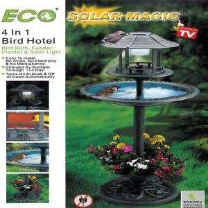 SOLAR MAGIC 4 IN 1 BIRD HOTEL (SOLAR LIGHT, BIRD BATH, FEEDER AND