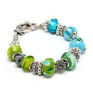 Chic Chunky Blue and Green Glass Beaded Charm Bracelet Fashion Jewelry
