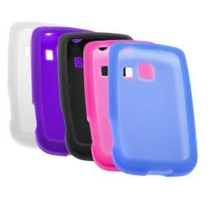 Color Silicone Skin Soft Cover Case (Black + Clear + Hot Pink + Blue