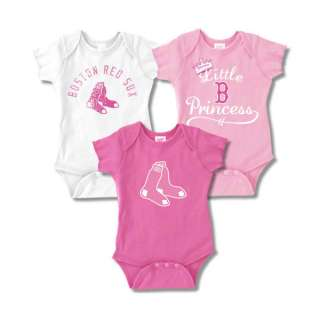 Boston Red Sox Infant Girls Baby Rib Pink Creeper 3 Pack
