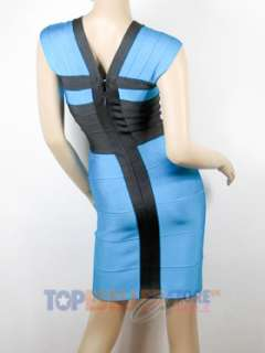 BEYONCE BLUE BODYCON BODY CON BANDAGE DRESS SZ XS S M L