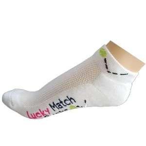 K Bell Socks Women`s Lucky Match White Tennis Socks