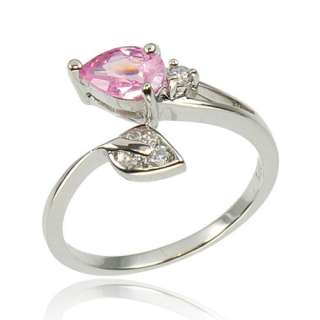 3Ctw Pear Cut Pink CZ Cubic Zirconia 925 Sterling Silver Womens