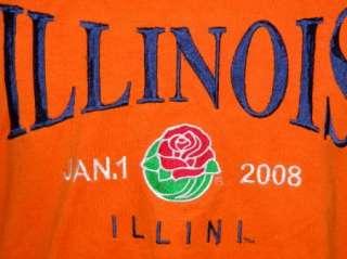 ILLINOIS FIGHTING ILLINI t shirt ROSE BOWL, STITCHED XL