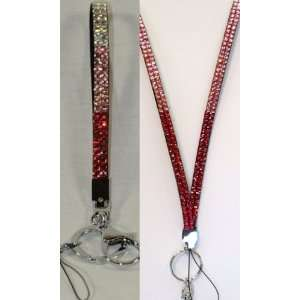 3 Color Pink Rhinestone Lanyard & Matching 3 Color Pink
