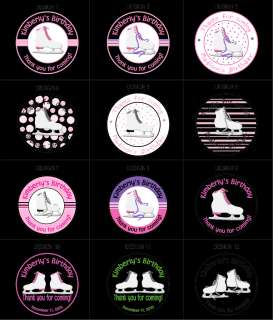 Round ice skates labels 48 stickers party favors