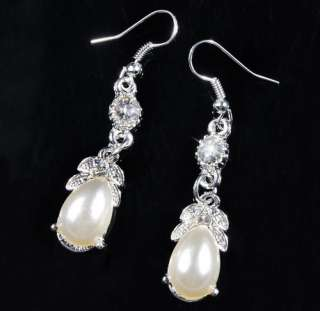 W21944 TearDrop Pendant White Imitate Pearl Crystal Necklace Earrings