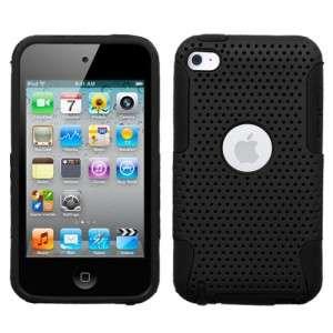 Black MESH Hybrid Hard Silicone Rubber Gel Skin Case Cover Apple iPod