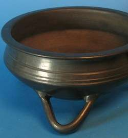 Signed Mexican Oaxaca Black Art Pottery Bowl c. 1970