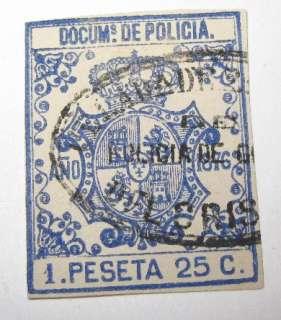 Spain Puerto Rico Cuba Police Fiscal tax Revenue Stamp 5m16 ED