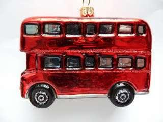 LONDON ENGLAND DOUBLE DECKER BUS BLOWN GLASS CHRISTMAS ORNAMENT