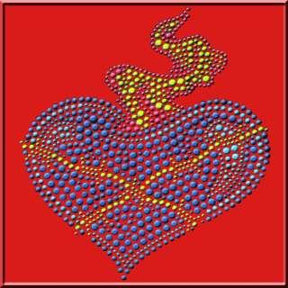 Metal Studs Blue Flaming Heart Shirt S L,XL,2X,3X,4X,5X