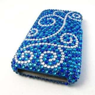 BLUE SWIRLS DIAMOND HARD CASE COVER APPLE IPHONE 3G 3Gs PHONE
