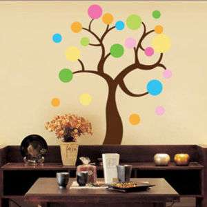 Polka Dot TREE Mural Art PEEL&STICK Wall Sticker Paper