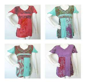 Bohemian Hippie Boho Embroidered Top / Blouse   S