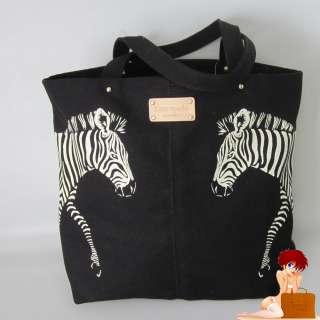 New Authentic Kate Spade Coco Bon Shopper Zebra Canvas Tote Bag Purse