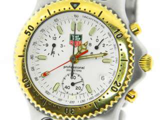 TAG Heuer Mens Two tone SEL White Dial Chronograph Watch