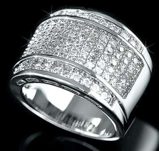 Mens 925 Sterling Silver Micropave Bling CZ Iced Out Hip Hop Band Ring