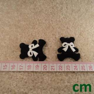 60 Black Teddy Bear Bow Tie Applique Scrapbooking Craft Favor 35mm