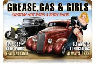Brand New   Large Grease, Gas & Girls Pinup/Auto Metal Sign(11 1/2